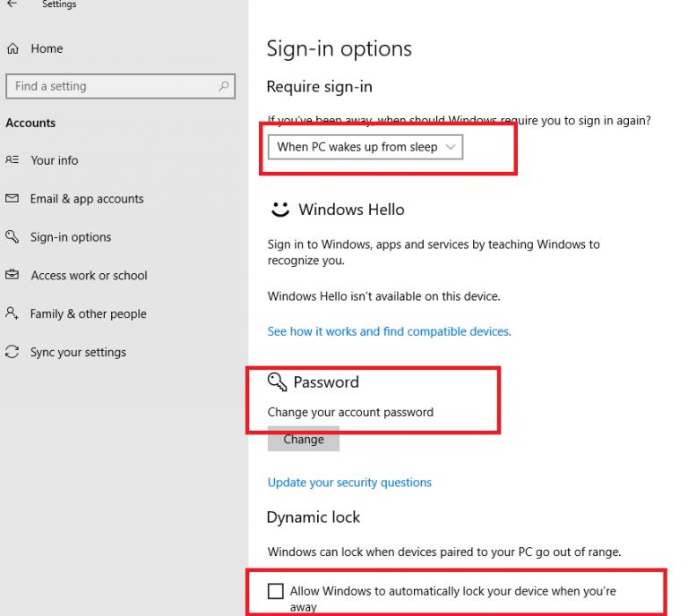 Configuring Windows 10 lock screen password