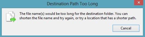 destination path too long