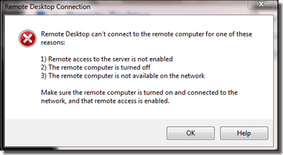 remote desktop can't find the computer