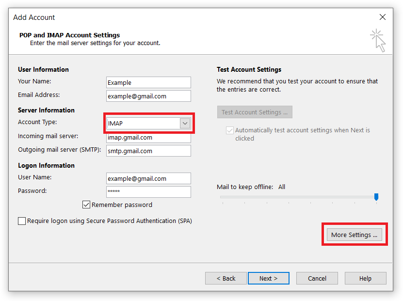setup Gmail in outlook 2016