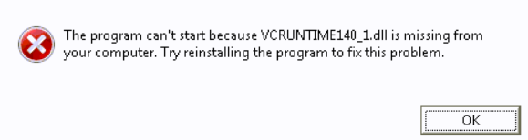 vcruntime140.dll not found