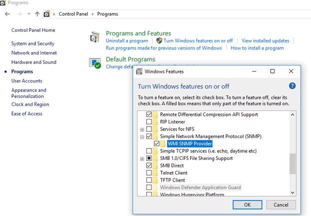 SNMP service on Windows 10