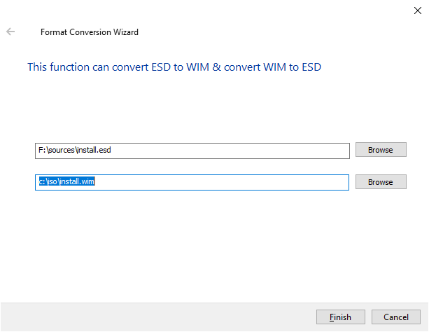 how to convert ESD to WIM file